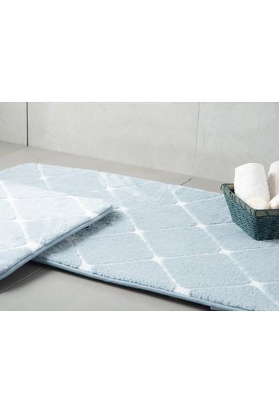 English Home Tile Mavi 50 x 80 cm - 45 x 50 cm Polyester Banyo Paspası Seti