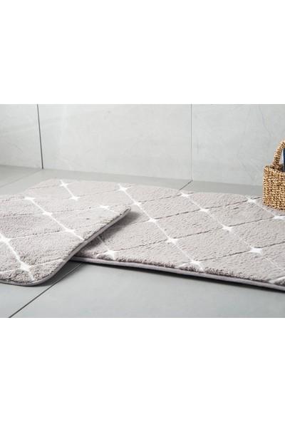 English Home Tile Koyu Mürdüm 50 x 80 cm - 45 x 50 cm Polyester Banyo Paspası Seti