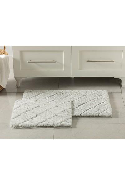 English Home Rabbit Açık Gri 50 x 80 cm - 45 x 50 cm Polyester Banyo Paspası Seti