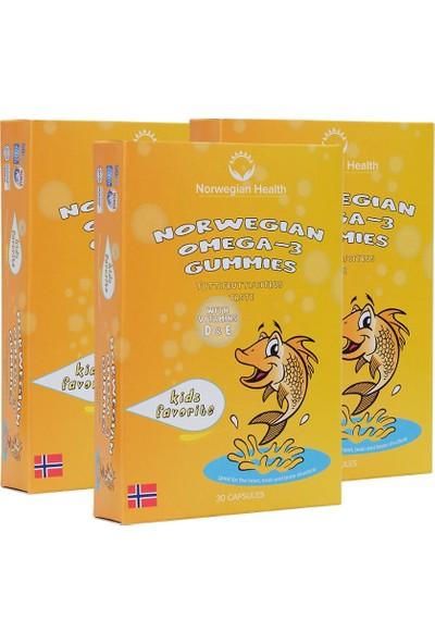 Norwegian Health Omega-3 Gummies 30 Kapsül Çiğnenebilir Balık Yağı x 3 Adet