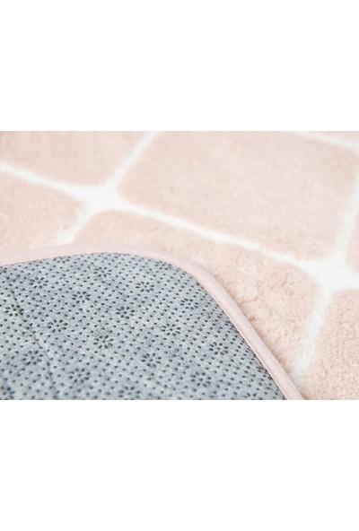 English Home Tile Polyester Banyo Paspası Seti 50x 80 cm 45 x 50 cm Pudra