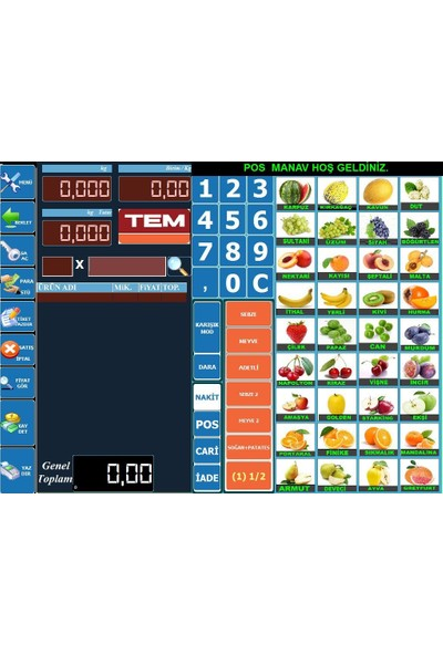 Viapos Manav Dokunmatik Barkodlu Hızlı Satış Sistemi L Eko Set 1
