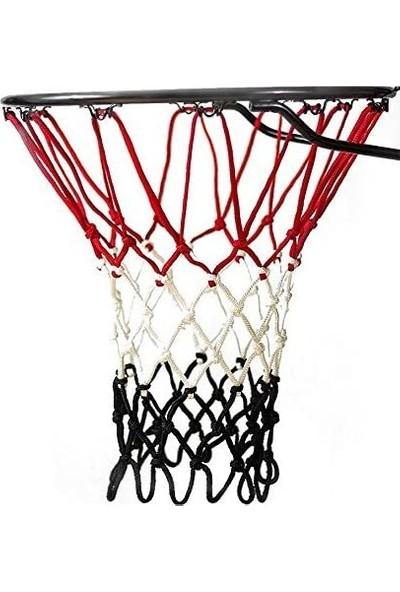Özbek Basketbol Filesi 4mm Polys. Kırmızı - Beyaz - Siyah - 2 Adet (Basketbol Pota Ağı)
