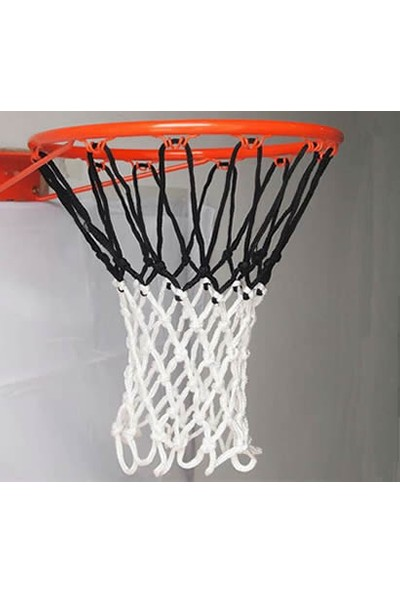 Özbek Basketbol Filesi 4mm Polys. Siyah - Beyaz - 2 Adet (Basketbol Pota Ağı)