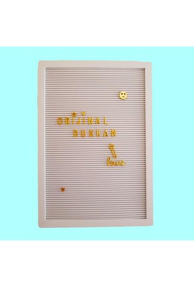 Orijinaldükkan Büyük Boy Ahşap Çerçeveli 140 Gold Harfli Yazı Mesaj Panosu Tahtası Beyaz