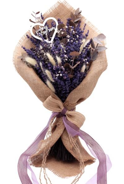 Lora Wedding Sevgililer Günü Için Özel Doğal Kurutulmuş Lavanta Çiçekli Buket