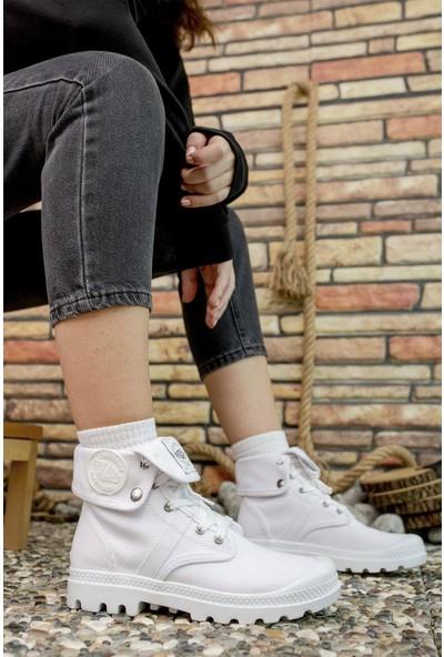 Riccon Beyaz Beyaz Kadın Sneaker Bot 0012PL01