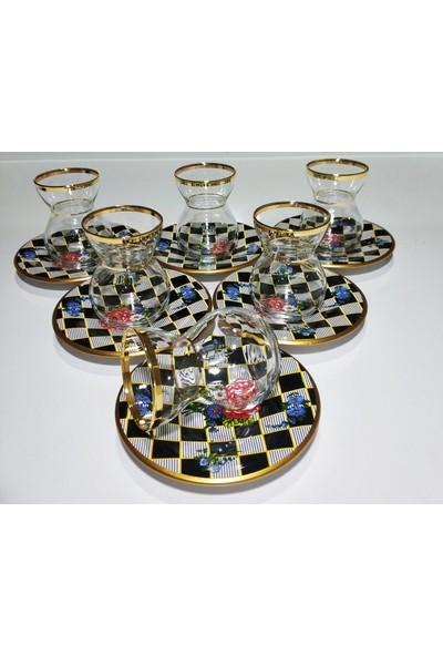 Rainbow Moonrise Collection 6'lı Altın Işlemeli Çay Bardağı Takımı