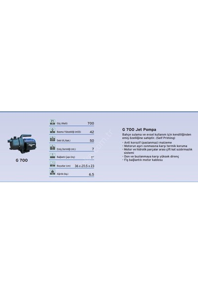 Dab-Brisan G700 - Plastik Gövdeli Jet Pompa - 1 Hp
