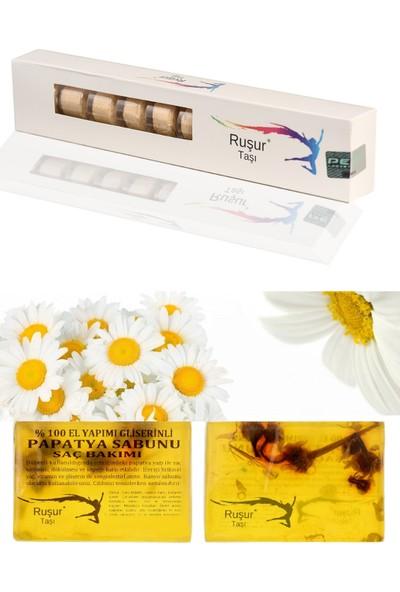 Ruşur Sefidab 1 Kutu Ruşur Taşı + Ruşur Taşı Sabunu Papatya Özlü Saç Bakım