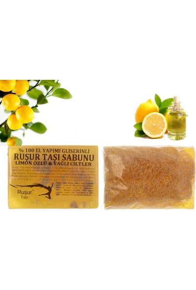 Ruşur Sefidab 1 Kutu Ruşur Taşı + Ruşur Taşı Sabunu Limon Özlü Kabak Lifli