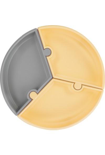 Oioi Puzzle Vakum Tabanlı Silikon Tabak - Sarı Gri