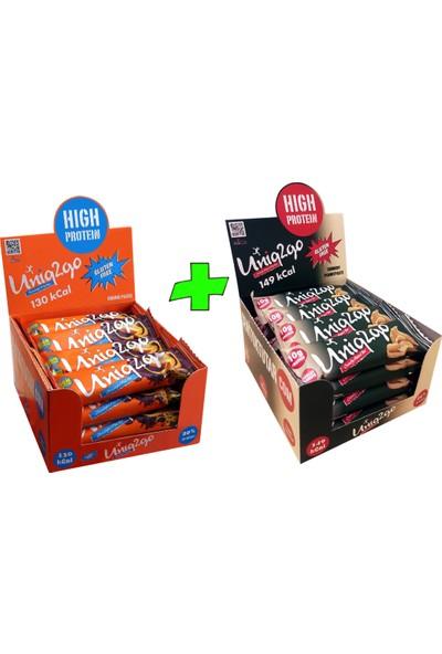 UNIQ2GO Choco Light Mıdı 40 G.- Portakallı 16'lı Kutu + UNIQ2GO Crunchy Mıdı 40 G.- Fıstık Ezmeli Proteinli Bar 16'lı Kutu (Toplam 32 li Bar)
