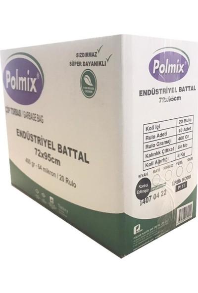 Polmix Çöp Torbası Endüstiriyel Battal Boy 400 gr 72 x 95 64 Mikron Mavi 5'li