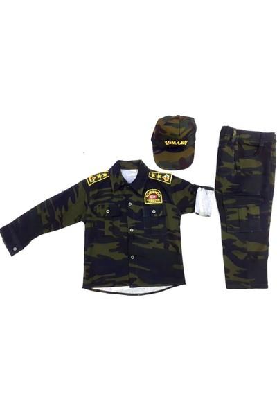 Uğur Böceği Çocuk Sevimli Asker Kıyafeti Komando Çocuk Asker Kostüm