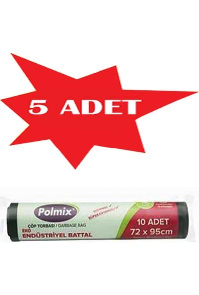 Polmix 5 Adet Çöp Torbası Polmix Endüstiriyel Battal Boy 300 Gram 72 x 95 48 Mikron Siyah