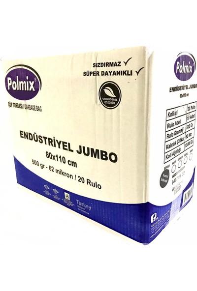 Polmix Çöp Torbası Endüstiriyel Jumbo Boy 500 gr 80 x 110 62 Mikron Siyah 5'li