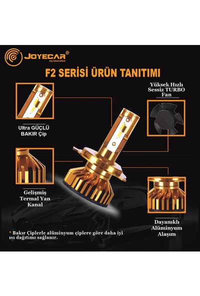 Joyecar F2 Şimşek LED Xenon Far H1/H3/H4/H7/H8/H11/H13/H16/HB3
