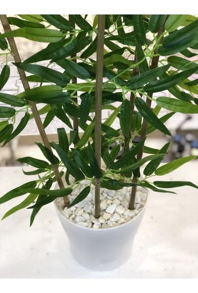 Bahçem Yapay Yapraklı Saksılı Dekoratif Bambu Ağacı 120 cm 5 Gövde