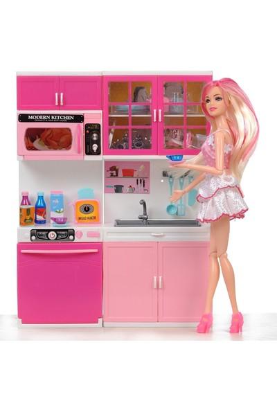Ysn Toys Eklemli Barbie Bebek ve 2,li Mutfak Seti