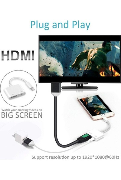 Daytona L8-Hl Apple iPhone iPad Lightning To 4K 1080P Hd HDMI Lightning Okuyucu Çevirici