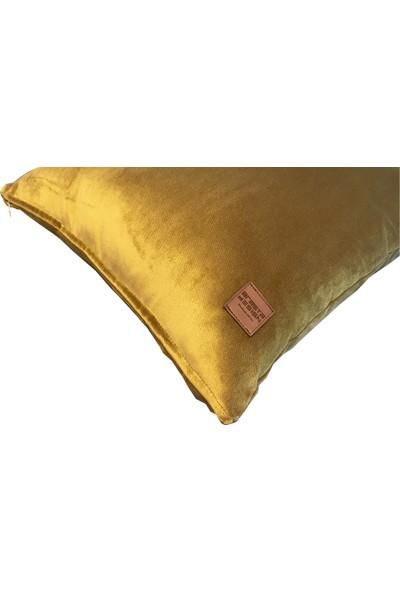 Arasta Design Hardal Sarısı Kadife Dekoratif Kırlent Kılıfı