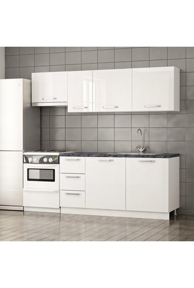 Minar 220 cm Modern Mutfak Dolabı / Parlak Beyaz
