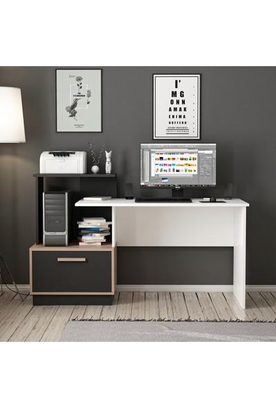 Minar Milas Kitaplıklı Çalışma Masası - Beyaz/kaman/siyah