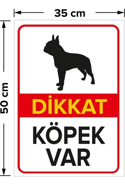 Mıgnatıs - Dikkat Köpek Var Levhası Siyah Boston Terrier - Sac Malzeme 35 x 50 cm