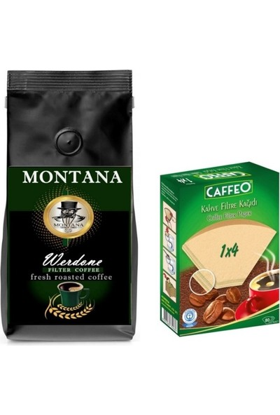 Montana Werdone Filtre Kahve 1 kg + Caffeo Kahve Filtre Kağıdı 4 Numara 80'li