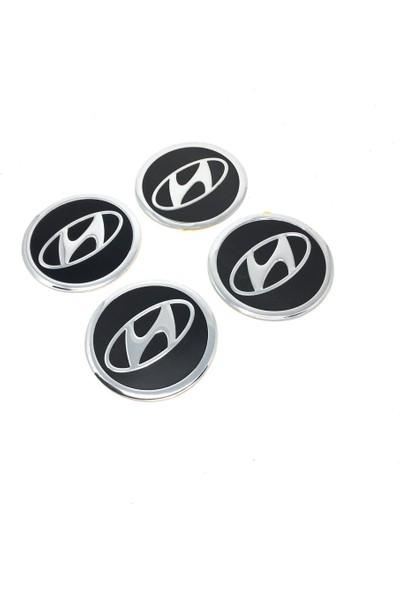 Oto Aksesuarcım Hyundai Alüminyum Yapıştırma Jant Göbeği Siyah 4'lü 60MM
