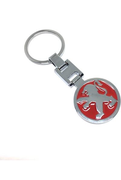 Oto Aksesuarcım Peugeot Metal Lüx Oto Anahtarlık Kırmızı Krom