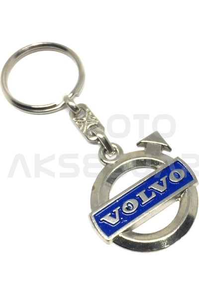 Oto Aksesuarcım Volvo Metal Oto Anahtarlık Krom Mavi