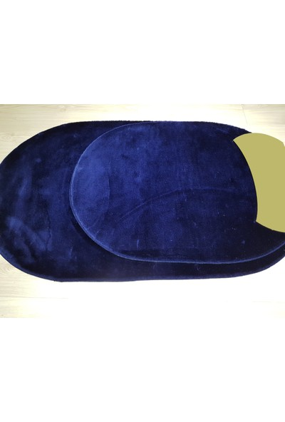 Secdem Sade Model Lacivert 2'li Büyük Boy Oval Banyo Paspas Takımı