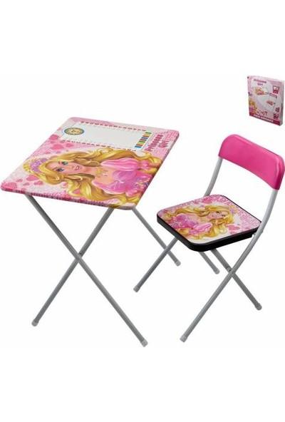 Masho Trend Barbie Çocuk Ders Çalışma Masası - Prenses Ders Masası + Su Kalem Boyama Kitabı + 4 Boyama Kitabı