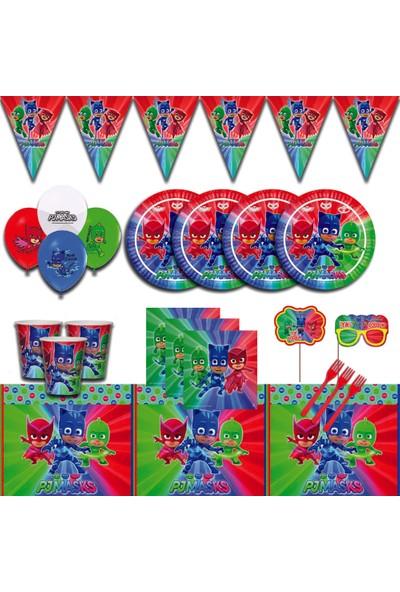 Parti Karnavalı Pijamaskeliler 8 Kişilik Doğum Günü Parti Malzemeleri Seti