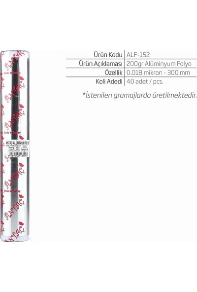 Antaç Alüminyum Folyo 30 cm 200 gr 160 gr Masura
