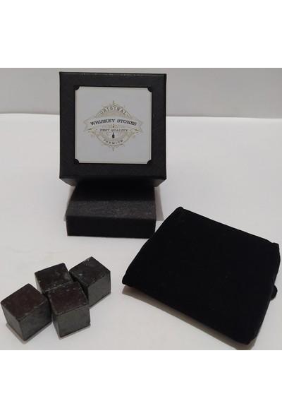Stone Viski Soğutma Taşı Granit Buz Küpü 2 X 2 Cm 4 Adet Siyah