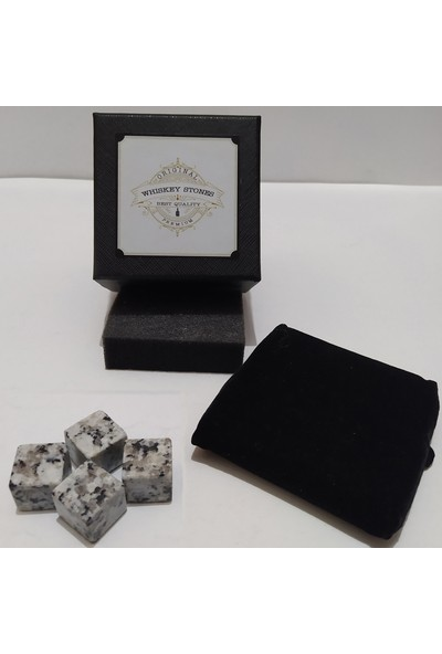 Stone Viski Soğutma Taşı Granit Buz Küpü 2X2CM 4 Adet Beyaz