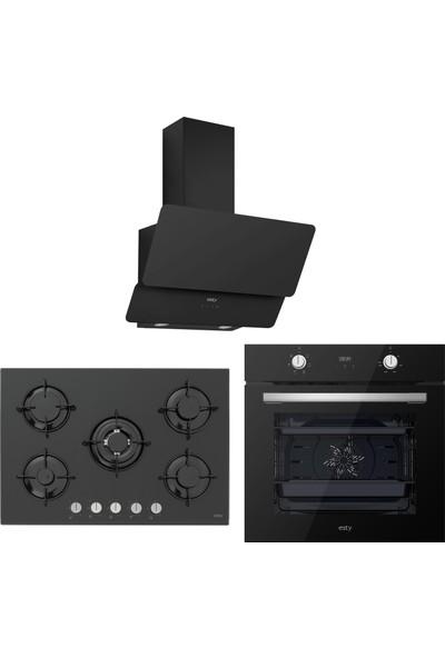 Esty Siyah Cam Ankastre Set (AEF6603B02 Fırın + ACO5365B01 Ocak + 3471 60 cm Davlumbaz)