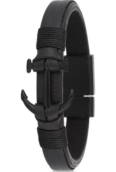 Frnch Çapa Figürlü Gerçek Deri Mat Siyah Renk Erkek Bileklik FRJ11149-1149-B2