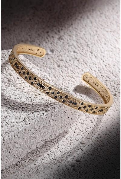 Frnch Zirkon Taşlı Şal Desen Altın Renk Erkek Kelepçe Bileklik FRJ11139-1239-G