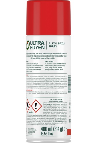 Cif Ultra Hijyen Alkol Bazlı Sprey 400 ml