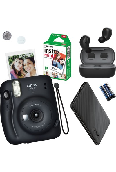 Instax Mini 11 Siyah Fotoğraf Makinesi - 10'lu Film Siyah Powerbank ve Tws Bluetooth Kulaklık