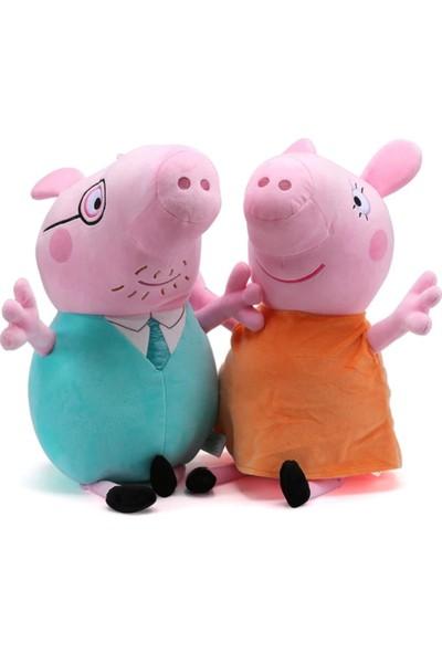 Peppa Pig Mom And Dad Peluş 19 cm 2'li Set