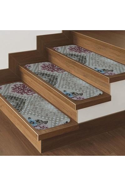 Stepmat Desenli Halıdan Kaymaz Tabanlı Merdiven Basamak Paspası / Halısı