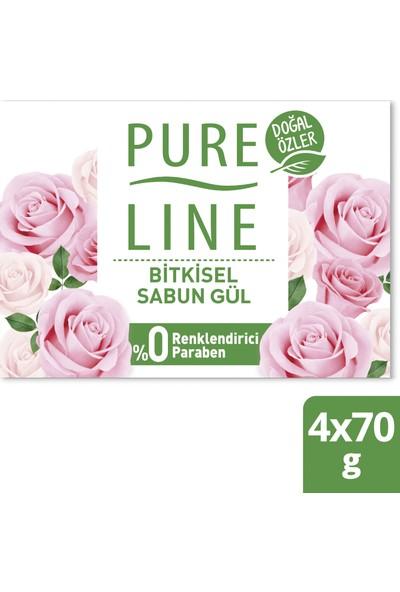 Pure Line Doğal Özler Bitkisel Bazlı Sabun Gül 4 x 70 gr