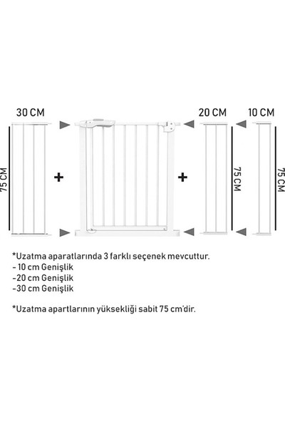 Evokids Çift Kilitli Güvenlik Kapı - Uzatma Aparatı - 30 cm