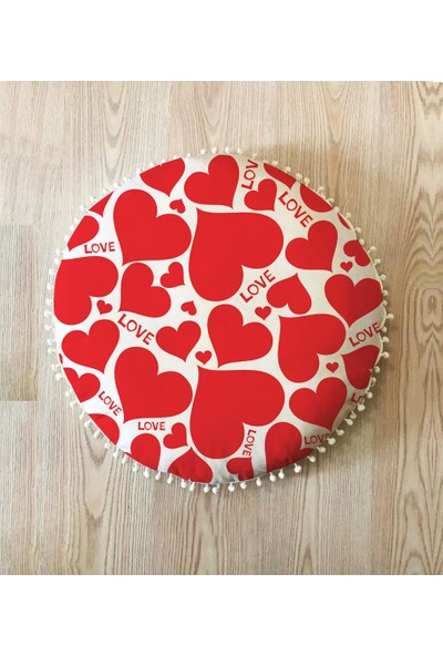 1Se2Ge Handmade Aşk 21 Yuvarlak Yer Minderi