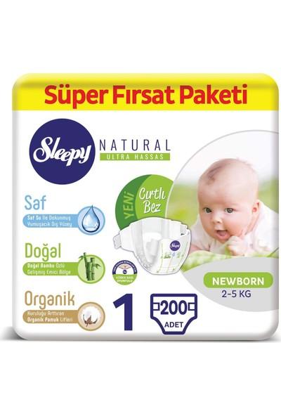 Sleepy Bebek Bezi 1 Numara Yenidoğan Süper Fırsat Paketi 200 Adet